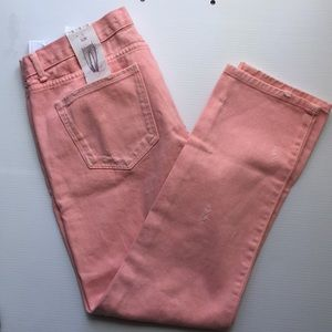 Zara pink jeans ankle length distressed size 6